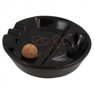 Black Ceramic Single Ashtray With Cork