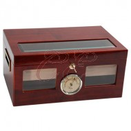 Humidor Cherry Glass Top 40 Count with Divider, Hygrometer, and Humidifier