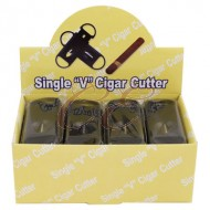 Black Plastic Single V Cigar Cutter Box 24