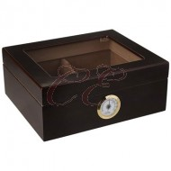 Dark Mahogany Glass Top 40 Count Humidor with Divider, Hygrometer, and Humidifier