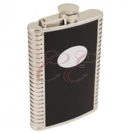 8 Ounce Black Leather With Ribbing Flask